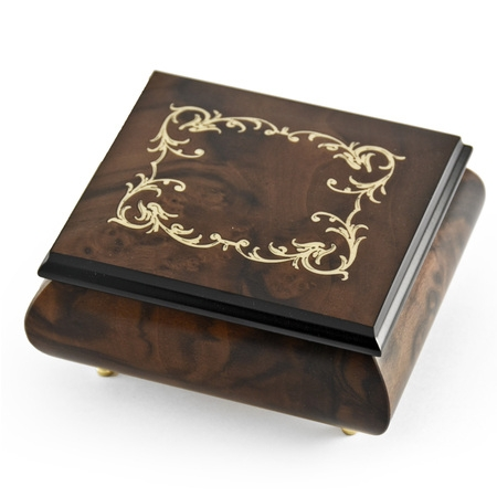 - Classic Walnut Stain Arabesque Wood Inlay Music Box - Aloha Oe, H.M.O - SWISS