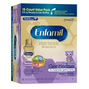 Enfamil Gentlease Baby Formula, 8 fl oz Ready to Use Bottles (Pack of 15), Milk-Based Formula, for Fussiness, Gas, and Crying