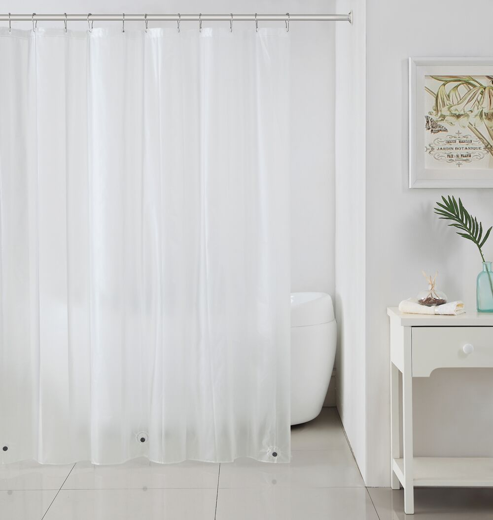 Peva Plastic Shower Curtain Liners With Magnets By Victoria Classics    Frosty Clear