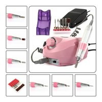CoastaCloud 110V 18000-30000RPM Professional Nails Salon Manicure Electric Nail Drill File Machine  Pedicure Grooming Kits with Pedal Pink