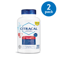 (2 Pack) Citracal Maximum Plus Calcium Citrate With Vitamin D3, Caplets, 180ct