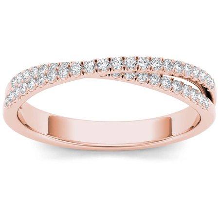 1/4 Carat T.W. Diamond Cross Over 10kt Rose Gold Wedding Band Cross Diamond Accent Wedding Band