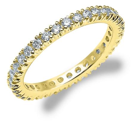 3/4 CT Diamond Eternity Wedding Band in Yellow Gold, 0.75 CT Round Diamond Anniversary Ring ()