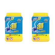 (2 pack) all Mighty Pacs Laundry Detergent, Stainlifter, Tub, 72 Count