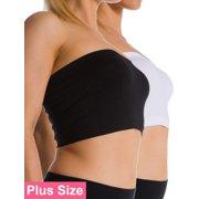 d35757bb70 2 Pack Plus Size Seamless Strapless Bandeau Bra Tube Top Sports Bra Yoga XL  1X 2X