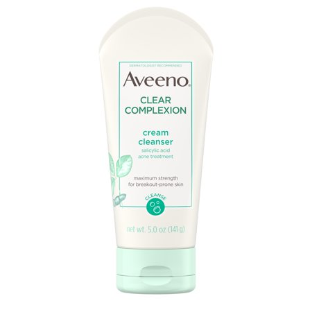 Salicylic Acid Face Wash - Aveeno Clear Complexion Cream Cleanser with Salicylic Acid, 5 fl. oz