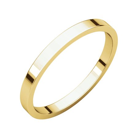 Jewels By Lux 18K Yellow Gold 2mm Flat Bridal Wedding Ring Band Size (18k Gold Gemstone Ring)