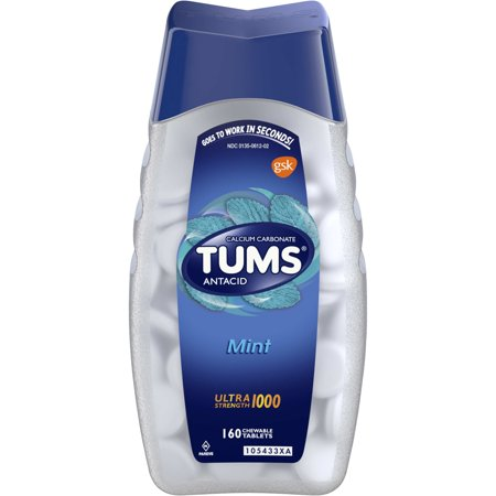 TUMS Antacid Chewable Tablets, Ultra Strength for Heartburn Relief, Peppermint, 160
