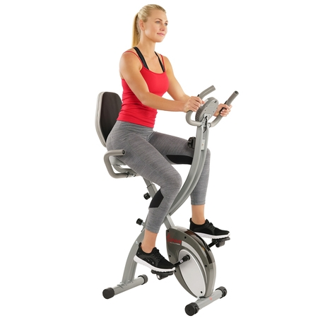 - Sunny Health & Fitness Folding Exercise Bike with Magnetic Semi Recumbent Upright High Weight Capacity and Pulse Monitoring - SF-B2721 Comfort XL