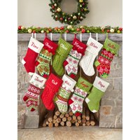 product image personalized snowflake knit christmas stocking available in 11 designs