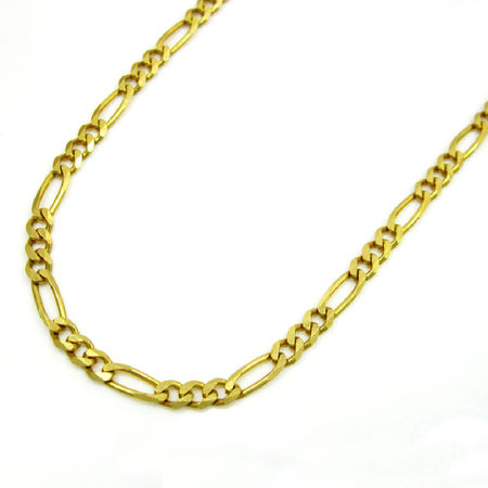 14K Yellow Gold Men Women's 1.25MM Classic Figaro Link Chain Necklace Lobster Clasp, 16 to 22 Inches