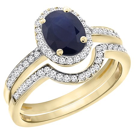 10K Yellow Gold Diamond Natural HQ Blue Sapphire 2-Pc. Engagement Ring Set Oval 8x6 mm, size 6 - Golden Yellow Natural