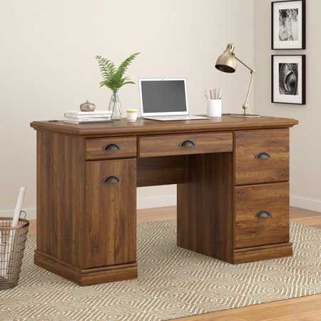 - Better Homes and Gardens Computer Desk with Filing Drawers, Brown Oak