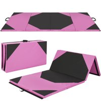Best Choice Products 10ft 4-Panel Extra-Thick Foam Folding Exercise Gym Floor Mat for Gymnastics, Aerobics, Yoga, Martial Arts w/ Carrying Handles - Pink/Black