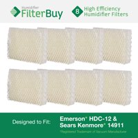 Emerson HDC-12 (HDC12) & Sears Kenmore 14911 Replacement Humidifier Wick Filters. Pack of 8 Filters. Designed by FilterBuy.