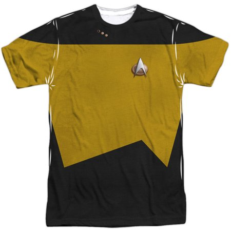 Star Trek Men's  Tng Engineering Uniform Sublimation T-shirt White - High Quality Star Trek Uniform
