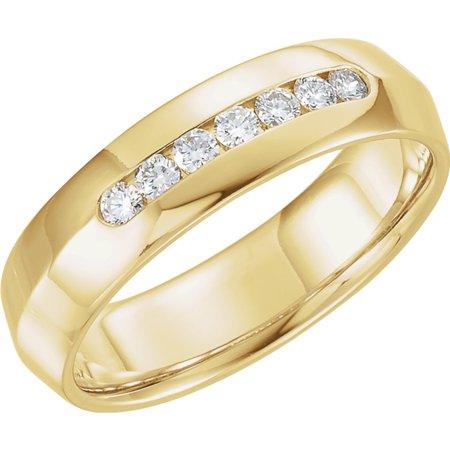 White Gold Mens Knife Edge - 14k Yellow Gold 1/4 Ct Diamond Knife Edge Comfort-Fit 6mm Wedding Men Gents Band - Size 9