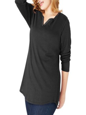 Women's Plus Size Lightweight Split V-neck Tunic