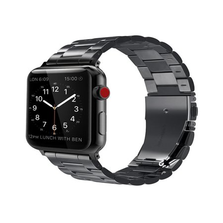 For Apple Watch Band 42mm Solid Stainless Steel Metal Replacement Wrist Bands for Apple Watch Series 4/3/2/1 Black