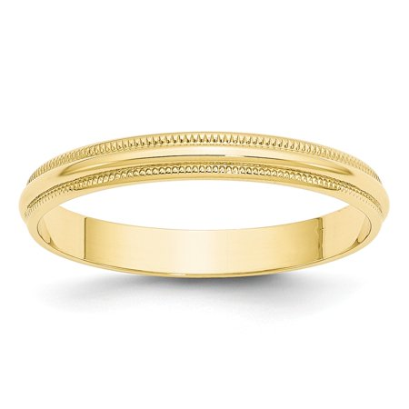 Solid 10k Yellow Gold 3mm Milgrain Half Round Wedding Band Size (Gold Half Round Band)