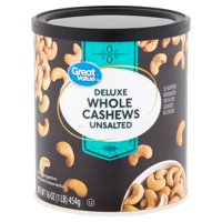 Great Value Deluxe Unsalted Whole Cashews, 16 Oz.