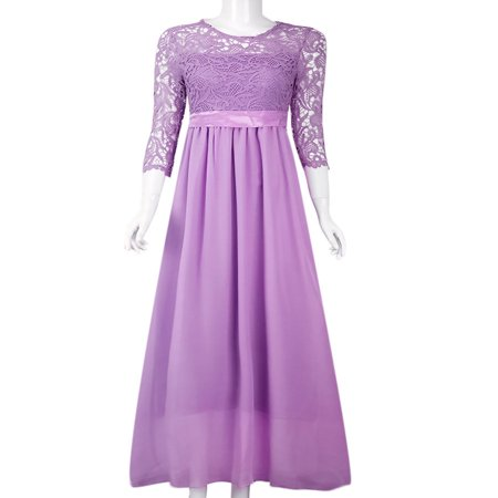 Evening Gowns for Women Lace Long Maxi Formal Wedding Bridesmaid Cocktail Party Prom Ball Gown  Half 1/2 Sleeve Dress](Themes For Prom)