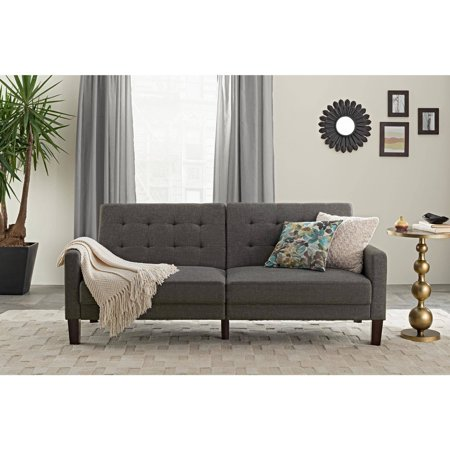 Better Homes & Gardens Porter Fabric Tufted Futon, Multiple - Fabric Wide Sofa