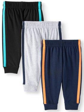 Baby Boys' Knit Retro-Stripe Joggers, 3-Piece Multi-Pack