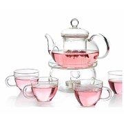 2f3ddd295dd Personal Clear Heat Resistant Borosilicate Glass Teapot Tea Set   Infuser  400ml and 4 Handle Tea