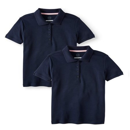 - Wonder Nation School Uniform Short Sleeve Interlock Polo, 2-Pack Value Bundle (Little Girls & Big Girls)