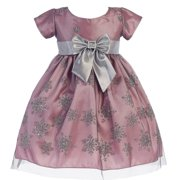 9aa0abc5c Baby Girls Pink Silver Glitter Snowflake Tulle Christmas Dress 6-24M