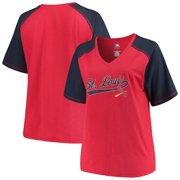 9ffd3c2b3 Women s Majestic Red Navy St. Louis Cardinals Plus Size High Percentage  Raglan V-