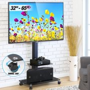 FITUEYES Floor Swivel TV Stand with Mount Rolling TV Stand Cart for up to 65 inch TV