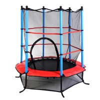 Ktaxon Mini 55 inches Trampoline, My First Kids Round Trampoline Workout, with Safety Enclosure, for Children Toddler Youth Exercise Fitness