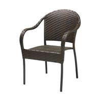 Patio Resin Outdoor Wicker Arm Chair Dark Brown Color (Set of Two)