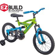 "b6fa0c893c2 Huffy 16"" DS 1600 Kids EZ Build Dual Suspension Bike for Boys, Green"