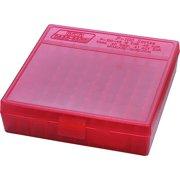 "MTM P-100 FLIP-TOP PISTOL AMMO BOX 1.22"" OAL RED POLY"