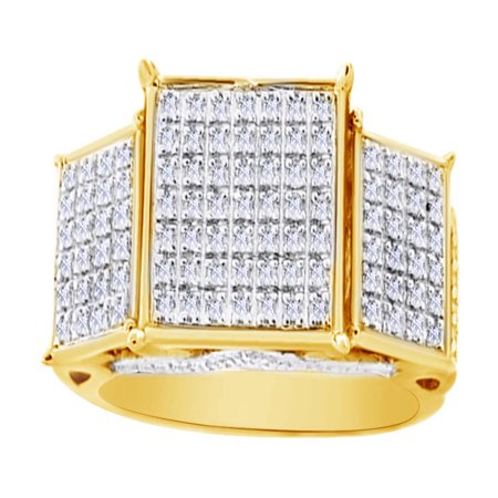 0.19 Ct Round White Natural Diamond Three Square Frame Men's Band Ring in 14k Yellow Gold Over Sterling Silver Ring Size - 8.5 14k Yellow Gold 3 Band