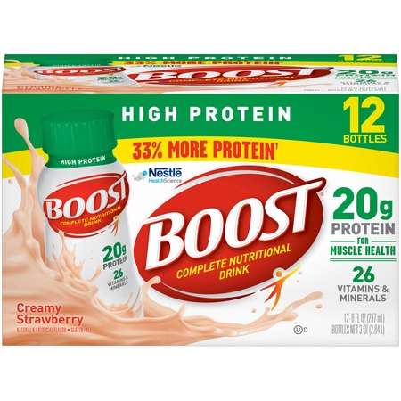 - Boost High Protein Complete Nutritional Drink, Creamy Strawberry, 8 fl oz Bottle, 12 Count