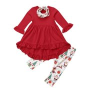 Toddler Kids Baby Girls Christmas Clothes Long Sleeve Ruffle Tops  Dress+Leggings Pants scarf Outfits babdd0535