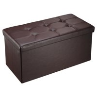 """Mllieroo 30"""" L Faux Leather Folding Storage Ottoman Bench, Storage Chest/Footrest/Coffee Table,Brown"""