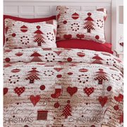 3b2bab1e5dfb Festive Holidays Vintage Christmas Red   White Full Queen Quilt Set (3  Piece Set