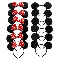 Mickey Mouse Ears, Solid Black, and Minnie Mouse Headbands, Red Polka Dots, 12 pc + FREE Temporary Body Tattoo!
