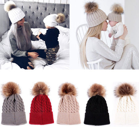 Mommy Women Kids Girls Boys Baby Knit Pom Bobble Hat Winter Warm Beanie Caps ()