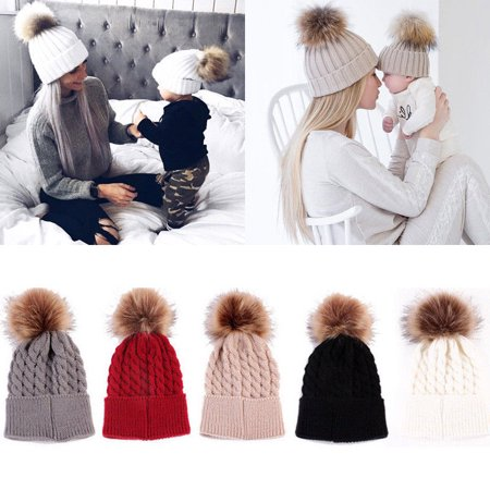 - Mommy Women Kids Girls Boys Baby Knit Pom Bobble Hat Winter Warm Beanie Caps