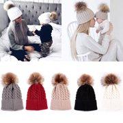 4df7eadb9afa Mommy Women Kids Girls Boys Baby Knit Pom Bobble Hat Winter Warm Beanie Caps