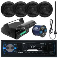 "Pyle PLMRB29B MP3 USB SD Bluetooth In-Dash Radio Receiver Bundle Combo With Black Marine Stereo Housing + 4x 6 1/2"" Dual Cone Waterproof Audio Speakers = Enrock Flex AM/FM Antenna + 50Ft Speaker Wire"