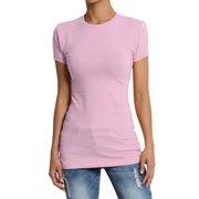 b53cc06faa22 TheMogan Women's Baisc Crew Neck Short Sleeve Tee Stretch Plain Cotton T- Shirts