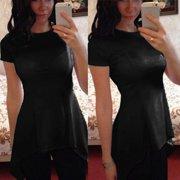 68fa6554 Women's Fashion O-neck Short Sleeve Irregular Hem Slim Fit Tunic Tops