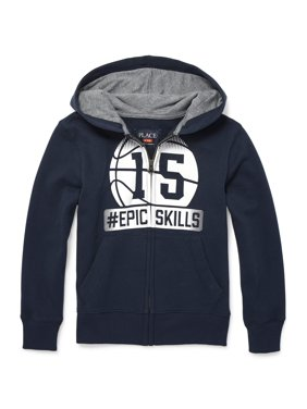 The Children's Place Fleece Zip Up Varsity Hoodie (Little Boys & Big Boys)